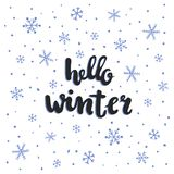 Winter lettering. Vector hand written lettering, hello winter text, snowflakes Royalty Free Stock Photo