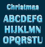 Winter letters. Winter letters on dark background. Christmas letters Royalty Free Stock Photos