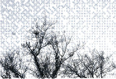 Winter letters composing landscape with branches. Stock Photos