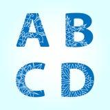 Winter letters. Vector set. Winter abc. Letters A B C D vector illustration