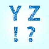 Winter letters. Vector set. Winter abc. Letters Y Z. Vector set stock illustration