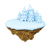Winter levitate  little island. Royalty Free Stock Image