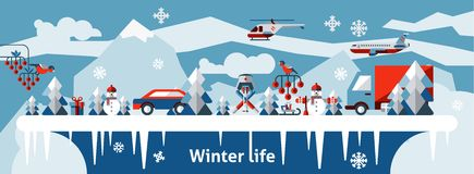 Winter life background Stock Photo