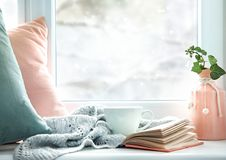 Winter life style background,cozy winter rest backdrop empty copy space stock image
