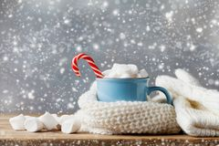 Winter lifestyle with cup of hot cocoa with marshmallows and knitted scarf on wooden background. Snow effect. stock photos