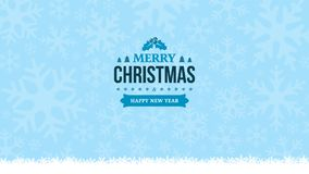 Winter light blue background with snowflakes. New Year 2018 and Merry Christmas vintage badge. Greeting card, banner template. Min. Imal, flat, and clean design Stock Images