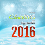 Winter light blue background with text. Falling. Snow on text merry christmass and new year 2016. Blurred vector background with bokeh Royalty Free Stock Image