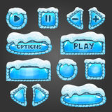 Winter light blue buttons with snow Stock Images