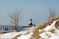 Winter light house in michigan Stock Photo