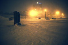 Winter lights. In the snow streets Royalty Free Stock Image
