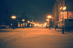 Winter lights. In the snow streets Stock Image