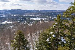 Old Laurentides mountains landscape at Val David royalty free stock image
