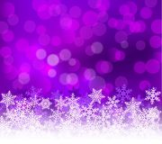 Winter lilac bokeh xmas background with snowflakes. Christmas bokeh holiday decoration for greeting card.  vector illustration