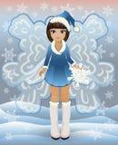 Winter little fairy girl, vector Stock Photos
