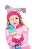 Winter: Little Girl Holding Snow Royalty Free Stock Photo