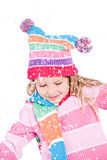 Winter: Little Girl With Snowflakes Royalty Free Stock Photos