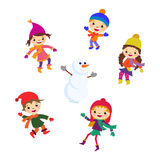 Winter Little girl snowman, Christmas boy snow Stock Photos