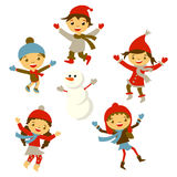Winter Little girl snowman, Christmas boy snow Royalty Free Stock Image