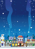 WInter in the Little Town. Snowy winter in a small town. Background with an empty space for your text Stock Illustration
