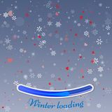 Winter loading. Abstract red design. Winter background with snow. Hearts and snowflakes. Perfect for greeting card, brochure or poster template Stock Photos