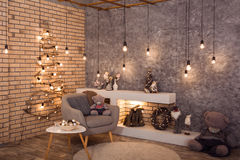 Winter loft style room with Christmas decoration Stock Photography