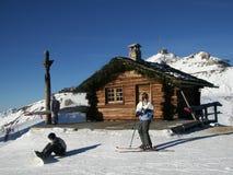 Winter Log Cabin. Wonderful woodern log cabin on the mountains at a ski resort Stock Photos