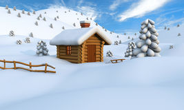 Winter log cabin. 3D illustration of a cute little wooden hut in the middle of snowy countryside vector illustration