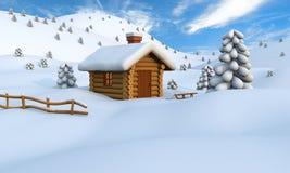 Winter log cabin vector illustration