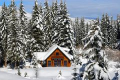 Winter Log Home. Vacation home in near Aspen, Colorado Royalty Free Stock Photography