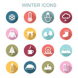 Winter long shadow icons Stock Images