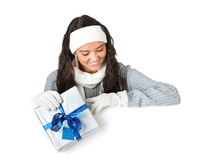 Winter: Looking Down with Christmas Gift Royalty Free Stock Photography