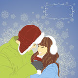 Winter love. Winter background with couple Stock Illustration