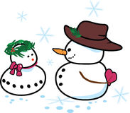 Winter love. Vector illustration of an snowman and his snowgirl Royalty Free Stock Photo