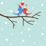 Winter love birds on a branch. Illustration of winter love birds on a branch stock illustration