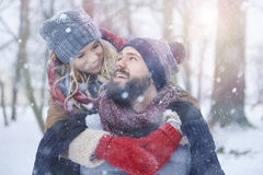 Winter love. Perfect season to fall in love Stock Photography