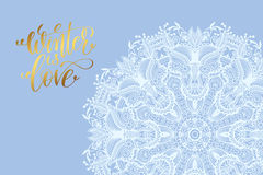 Winter love poster, white snowflake on blue background Stock Photography