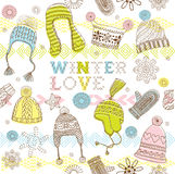 Winter Love Seamless Pattern. Seamless Winter Love pattern with hats, beanies and mittens Stock Image