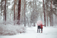 Winter love story in red Stock Photography