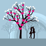 Winter Love Tree. Lovely  illustration of lovers kissing under a love tree Royalty Free Stock Images