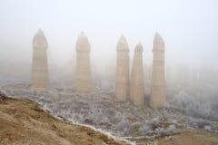 Winter in the Love Valley. Sandstone formations in Cappadocia, Turkey Stock Image
