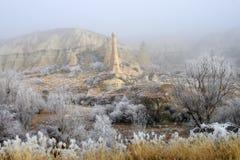 Winter in the Love Valley. Sandstone formations in winter season. Cappadocia, Turkey Royalty Free Stock Photography