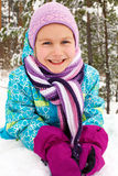 Winter,  lovely girl has a fun in snow Royalty Free Stock Images