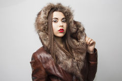Winter lovely girl in hood Royalty Free Stock Images