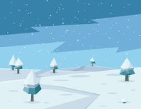 Winter low poly background with road and polygonal Stock Images
