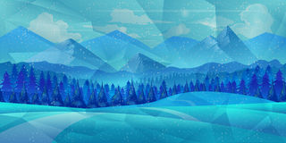 Winter low poly background with road and polygonal firs trees. Landscape season, frost outdoor snowfall. Vector illustration Stock Photo