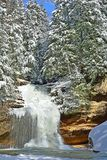 Winter Lower Falls at Old Man's Cave. Stock Photography