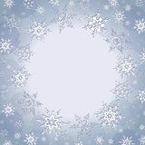 Winter luxury background with snowflakes. Beautiful winter luxury background with stylized white snowflakes. Christmas and New Year festive card with place for Stock Images