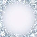 Winter luxury round frame with snowflakes Stock Photo