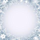 Winter luxury round frame with snowflakes Stock Photo