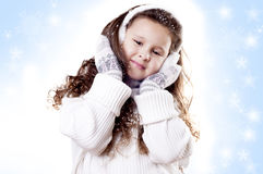 Winter-Mädchenschneeflocken-Blauhintergrund lizenzfreies stockfoto